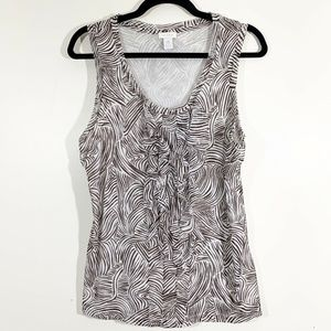 Chicos Brown White Animal Print Ruffled Front Tank